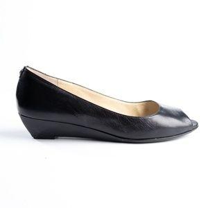 Michael Michael Kors leather peep toe wedge size 9